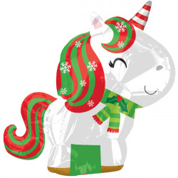 Junior Shape Xmas Unicorn Balloon