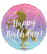 Ombre Happy Birthday Unicorn Standard Balloon