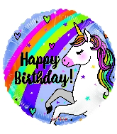 Rainbow Happy Birthday Unicorn Standard Balloon