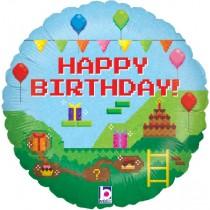 Happy Birthday Gamer Pixels Standard Balloon