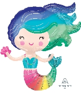 Rainbow Colourful Mermaid Supershape Balloon
