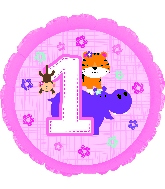 Jungle Fun 1st Birthday Pink Standard Balloon