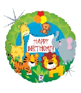 Happy Birthday Holographic Jungle Standard Balloon