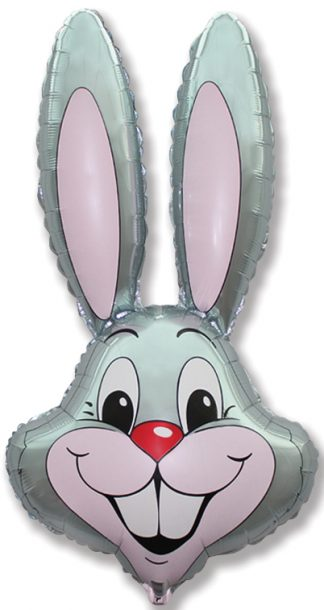 Silver Bunny Head Supershape Balloon