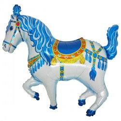 Blue Circus Horse Shape Balloon