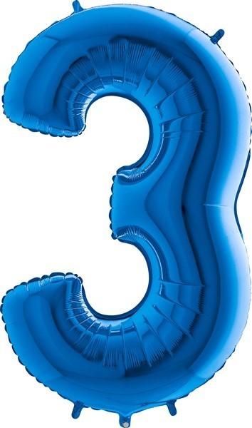 Grabo Jumbo Number 3 Blue Balloon