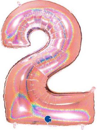 Grabo Jumbo Number 2 Rose Gold Glitter Balloon