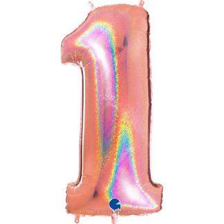Grabo Jumbo Number 1 Rose Gold Glitter Balloon